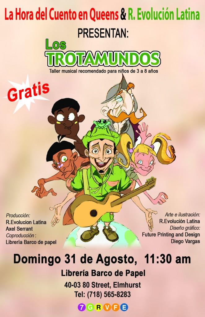 Taller Musical Los Trotamundos Domingo 31 de Agosto 11,30 AM en la Libreria Barco de Papel
