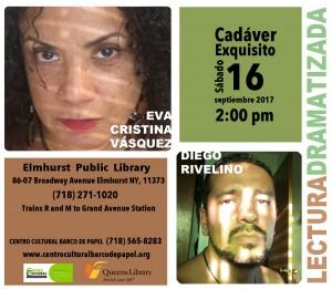 Cadáver Exquisito. Eva Cristina Vásquez - Diego Rivelino @ Elmhurst Public Library | New York | United States